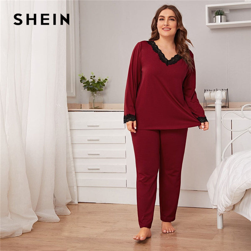 SHEIN Plus Size Burgundy Lace Trim Top and Pants PJ Set Women Spring Autumn Long Sleeve V-neck Casual Sleepwear Pajama Sets - onlinedressstore