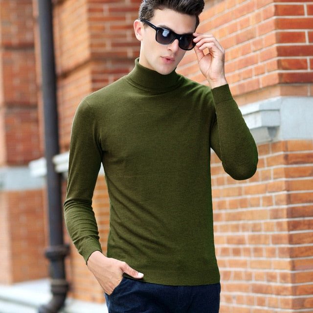 Brand Sweater Men Classic Casual Pull Homme Pure Merino Wool Pullover Men Autumn Winter Turtleneck Cashmere Sweaters - onlinedressstore