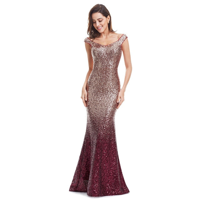 Evening Dress Long Sparkle 2020 New V-Neck Women Elegant EB29998 Sequin Mermaid Maxi Evening Party Gown Dress - onlinedressstore