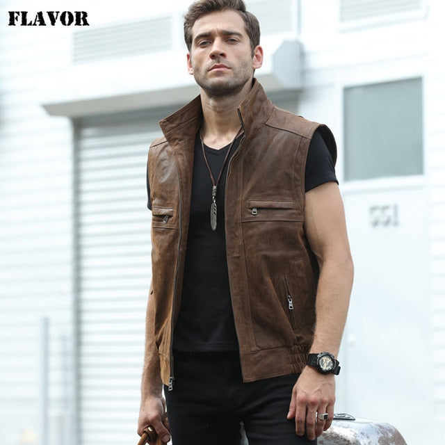 Mew Men's Leather Retro Vest Stand Collar Men's Motorcycle Casual Vest - onlinedressstore