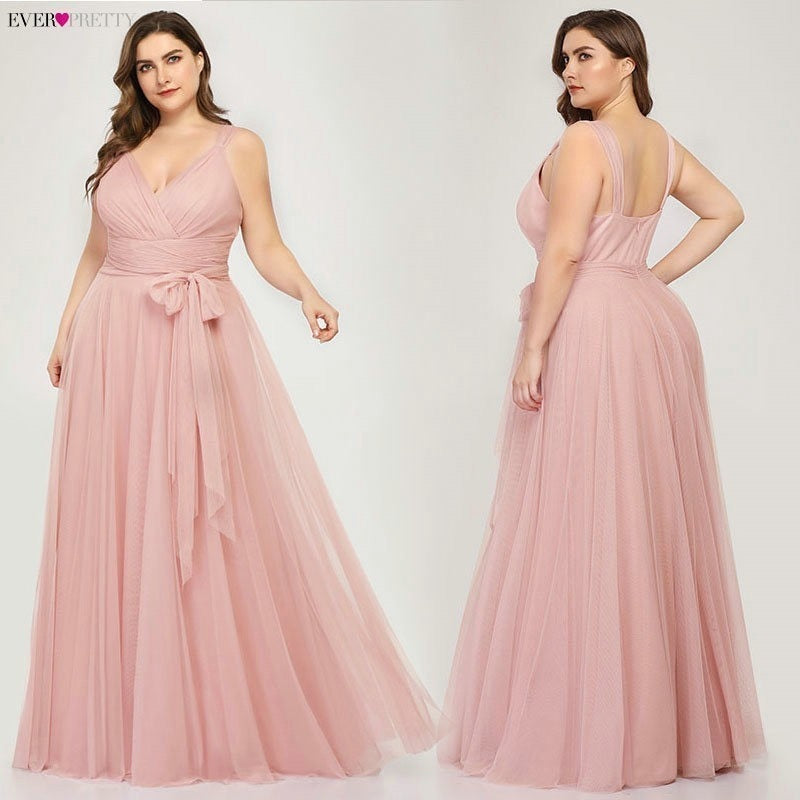 Plus Size Bridesmaid Dresses Ever Pretty EP07303 Blush Pink A-Line V-Neck Tulle Elegant Lavande Long Dress For Wedding Party - onlinedressstore