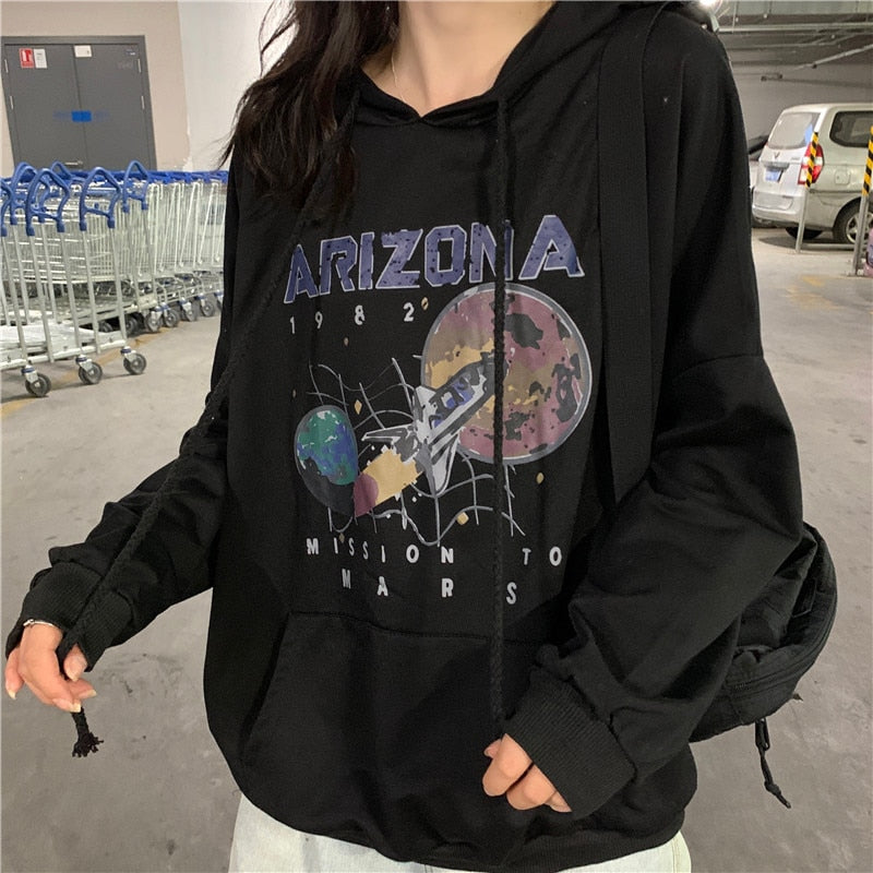 Autumn and Winter Cotton Nostalgia Old Planet Printed Spaceship Arizona Space Print Black Hooded Sweatshirt Hoodie - onlinedressstore