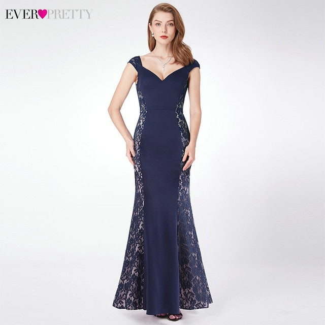 Sexy Sequined Evening Dresses Long Ever Pretty Double V-Neck Sleeveless Draped Sparkle Mermaid Evening Gowns Robe Longue 2020 - onlinedressstore
