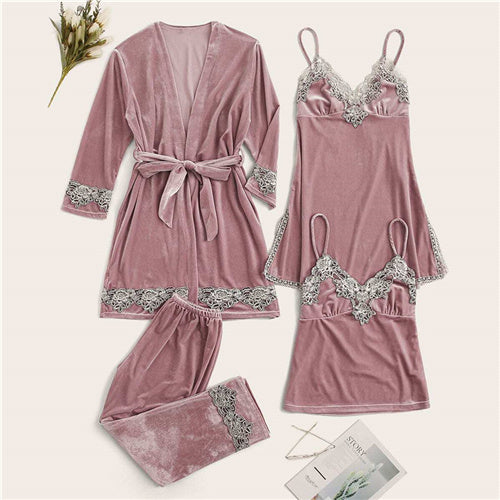 Contrast Lace Velvet Cami Nightdress With PJ Set And Belted Robe Women Sleepwear Spring Stretchy Casual Nightwear - onlinedressstore