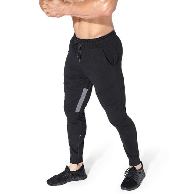 Men's Gym Jogger Pants Casual Slim Fit Bodybuilding Tapered Sweatpants with Zipper Pockets for Training Running Workout - onlinedressstore