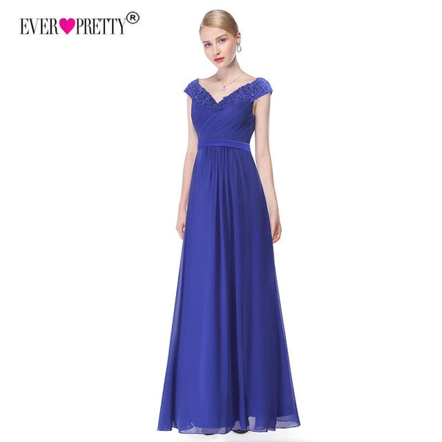 Wedding Party Gowns Plus Size Evening Dresses 2020 Women's Long Elegant V-neck Sleeveless A-line Chiffon Evening Gowns - onlinedressstore