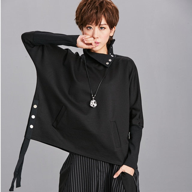 Loose Fit Black Ribbon Split Sweatshirt New High Collar Long Sleeve Women Big Size Fashion Tide Spring - onlinedressstore