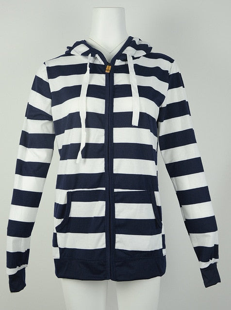 Large Size Long Sleeve Striped Coats Fashion Casual Full New Style Spring Hoodies Sweatshirt For Women Plus Size S-4XL - onlinedressstore