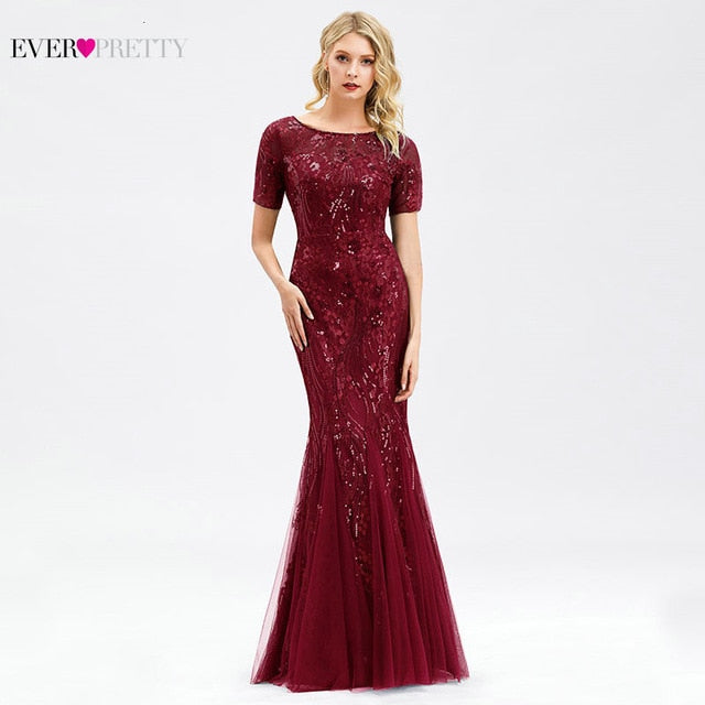 Burgundy Bridesmaid Dresses Ever Pretty Elegant Mermaid O Neck Sequined Wedding Party Dress Formal Gowns Robe De Soiree 2020 - onlinedressstore