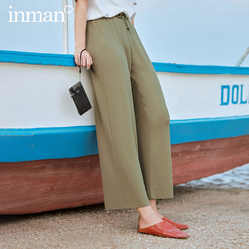 2020 Summer New Arrival Retro Literary Elastic Drawstring Ankle Length Loose Pant - onlinedressstore