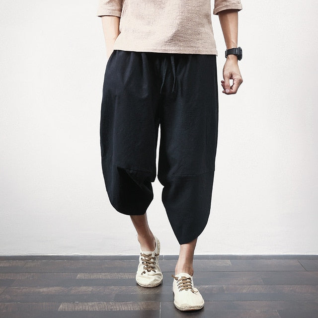 Sinicism Store Cotton Linen Mens Harem Pants Summer Male Casual Calf-Length Pants 2020 Solid Big Pocket Baggy Pants Trousers - onlinedressstore