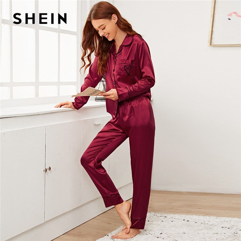 Burgundy Notched Collar Heart Embroidery Satin Set Women Sleepwear Spring Long Sleeve Button Front Elegant Pajama Sets - onlinedressstore