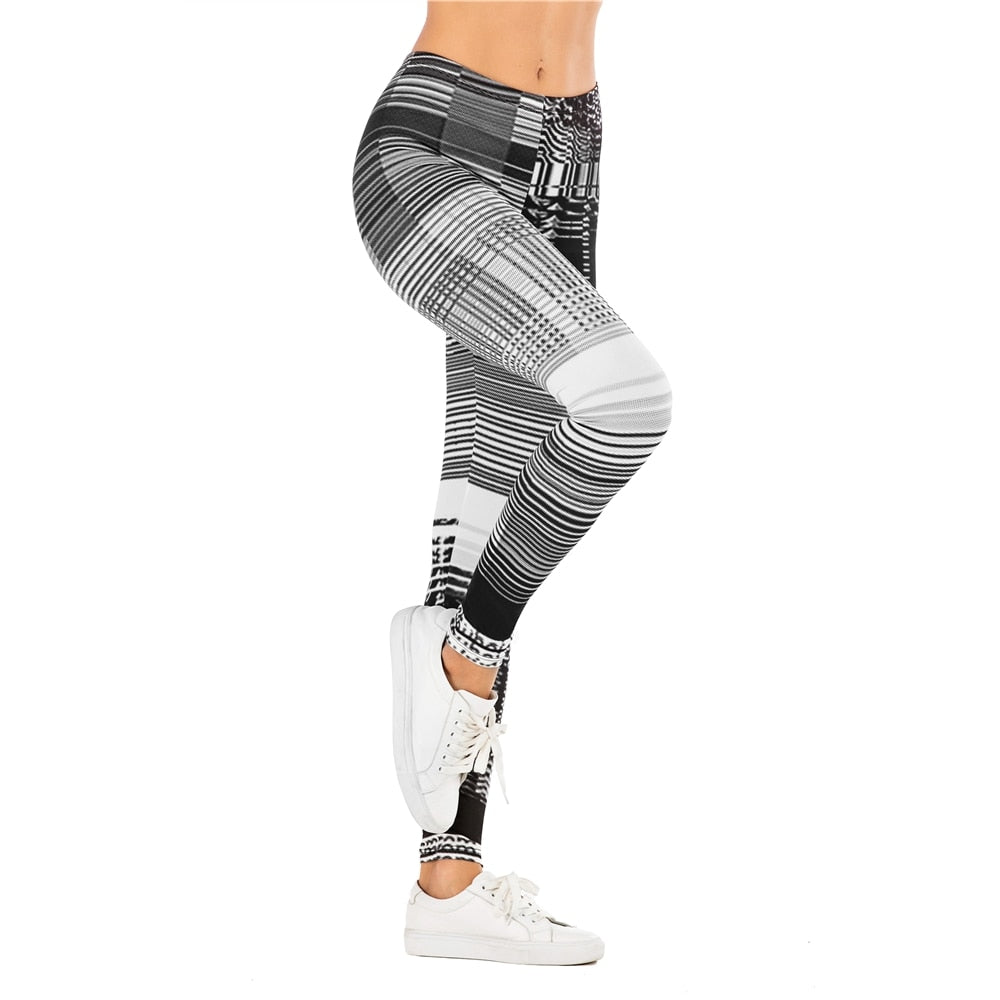 Fashion Women Legging Grid pattern Printing Fitness leggins Slim sexy legins High Waist Leggings Woman Pants - onlinedressstore