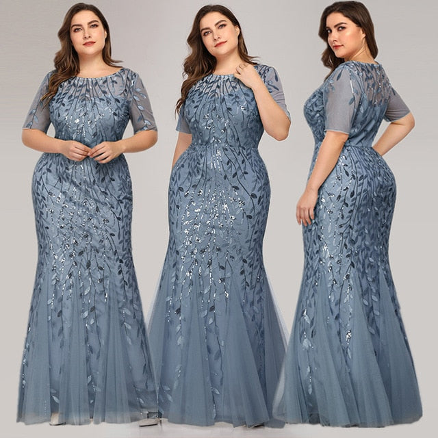 Queen Abby Evening Dresses Mermaid Sequined Lace Appliques Elegant Mermaid Long Dress 2020 Party Gowns Plus Size - onlinedressstore