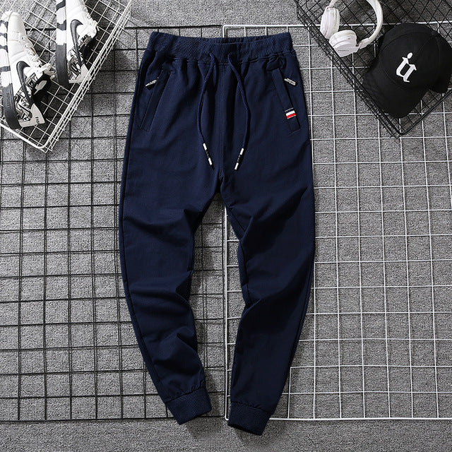 Men's Casual Pants Sweatpants Men Cotton Spring Autumn Jogger Pants Zipper Pockets Elastic Waist Trousers High Quality - onlinedressstore