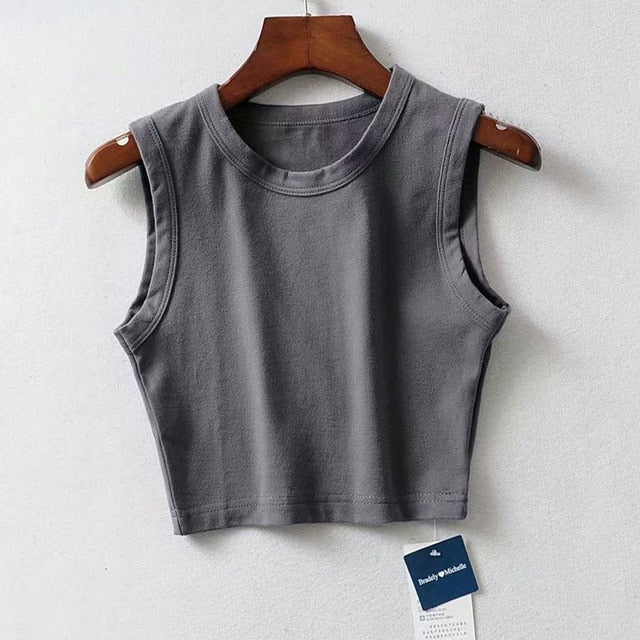 Sexy Sleeveless Sports Vest Stretch Tight Waistless Fitness Female T-shirt Wild Short Cycling Women's Top - onlinedressstore