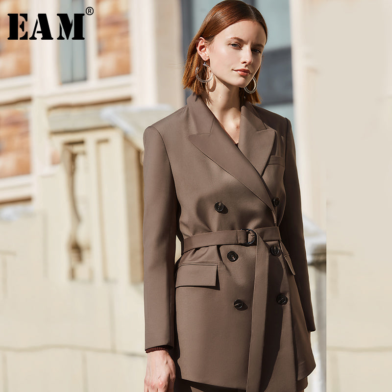 Fit Double Breasted Temperament Big Size Jacket New Lapel Long Sleeve Women Coat Fashion Tide Spring - onlinedressstore