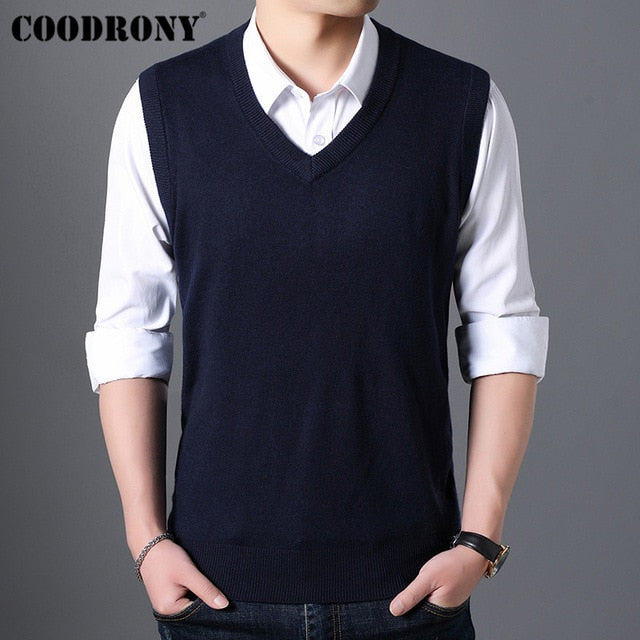 Sweater Men Autumn Winter Warm Cashmere Woolen Mens Sweaters Classic Pure Color V-Neck Sleeveless Vest Pull Homme - onlinedressstore