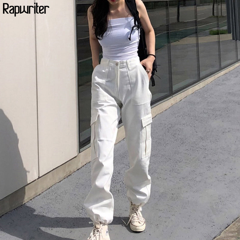 Rapwriter Streeetwear Elastic High Waist Pants Cargo pants Women 2020 Summer Solid Harajuku Drawstring joggers Trousers Pocket - onlinedressstore
