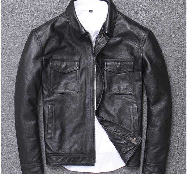mens genuine leather coat fashion vintage casual leather outwear - onlinedressstore