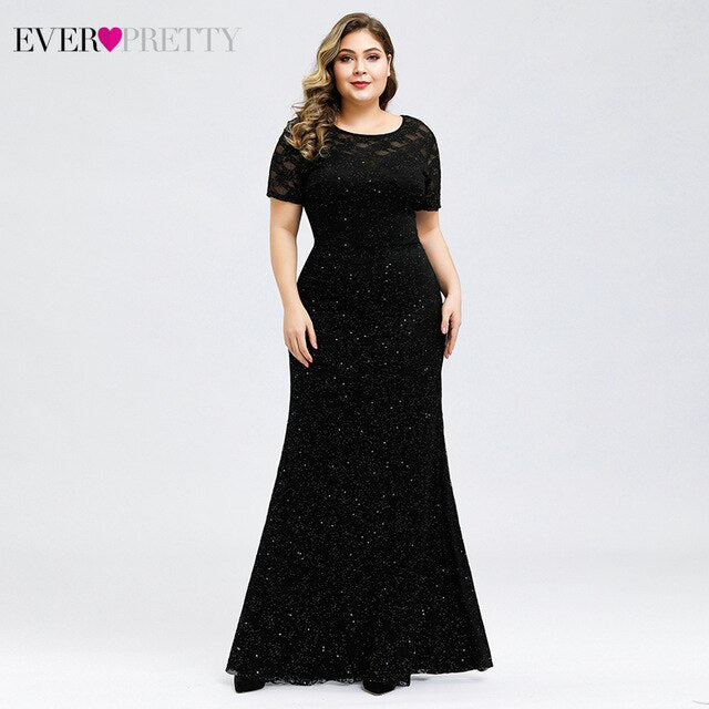 Sparkle Mermaid Prom Dresses Plus Size Ever Pretty O-Neck Short Sleeve Elegant Black Party Gowns For Women Vestidos De Gala - onlinedressstore