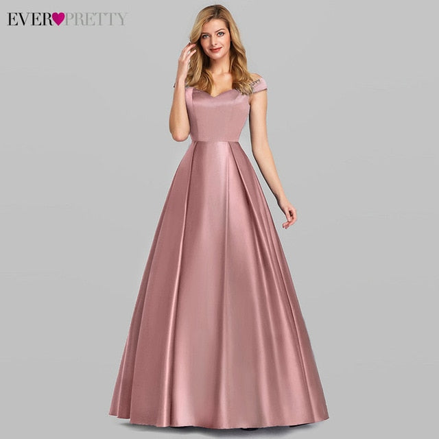 Navy Blue Elegant Women Long Prom Dresses 2020 Ever Pretty Satin A-LIne V-Neck Off The Shoulder Vintage - onlinedressstore