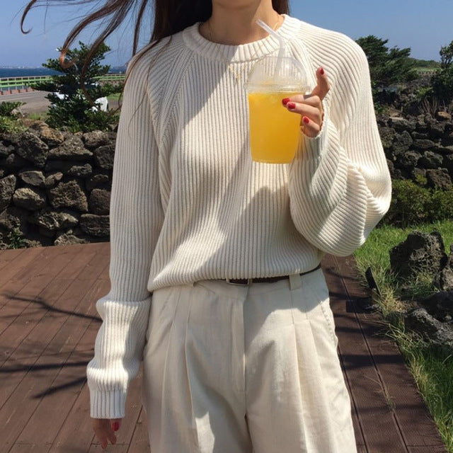 Korean Fashion Ladies Full Sleeve Women Knitting Sweater Solid O-Neck Pullover And Jumper Loose Sweater - onlinedressstore