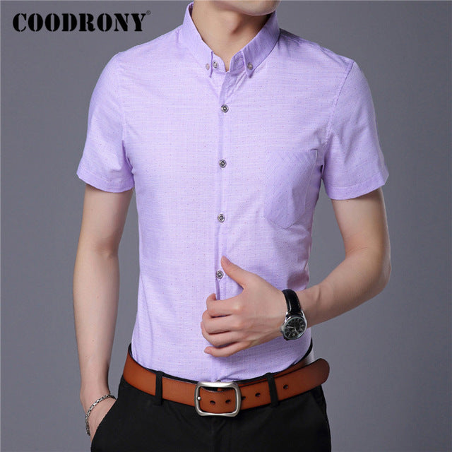 Spring Summer Mens Shirts Slim Fit Short Sleeve Shirt Men Clothing Business Casual Camisa Masculina - onlinedressstore