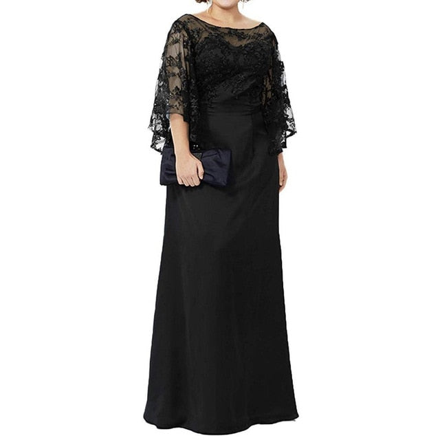 Long Sleeve Lace Top Plus Size Mother of the Bride Dress Floor Length Long Column Women Formal Evening Gowns Mother of Groom - onlinedressstore