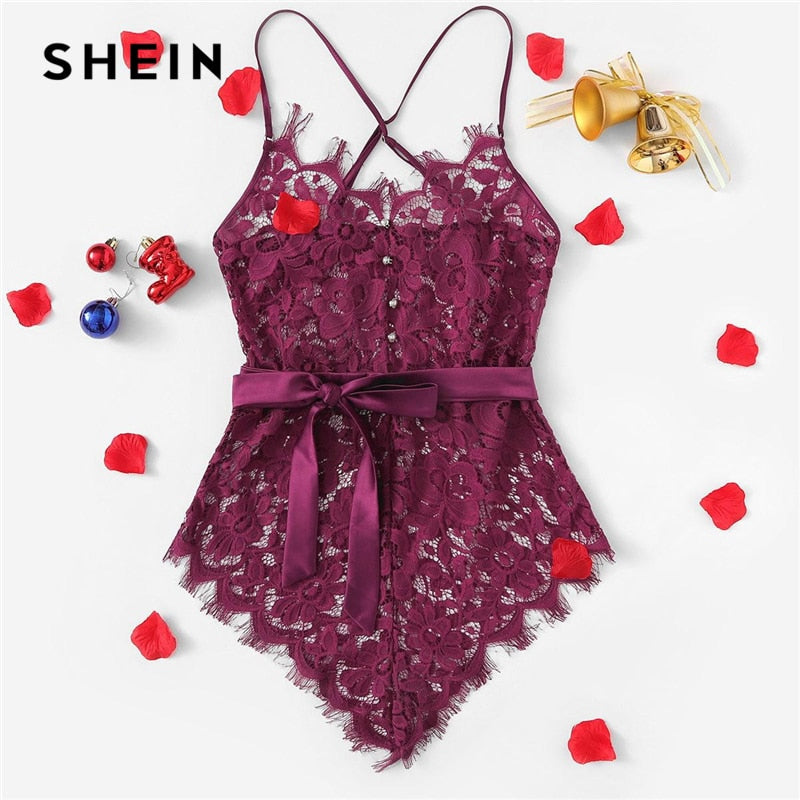 Cross Eyelash Floral Lace Teddy Bodysuit Sexy Belted Teddies 2019 Women Summer One-Piece Sleep Pajamas - onlinedressstore