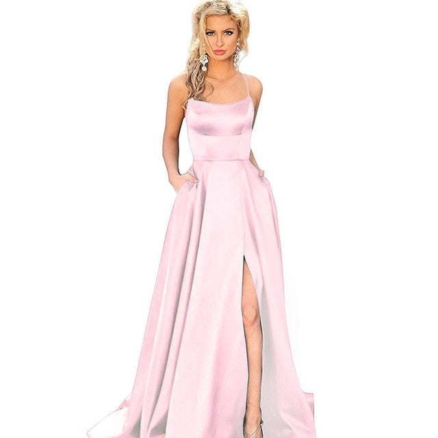 Sexy Criss-Cross Back Long Prom Dresses Candy Color Strapless Satin Prom Gowns Spaghetti Strap Slit Evening Party Dresses - onlinedressstore