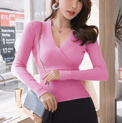 New Sexy Deep Sweater Women's Pullover Casual Slim Bottoming Sweaters Female Elastic Cotton Long Sleeve Tops Femme - onlinedressstore