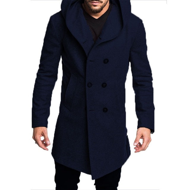 New Spring Autumn Mens Trench Coat Jacket Plus Size Black Gray Outwear Casual Long Hooded Overcoat Jackets for Men Clothes - onlinedressstore