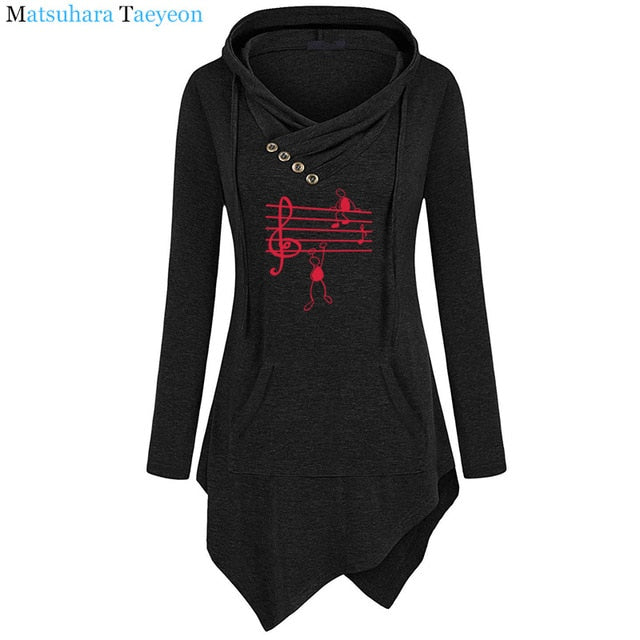 New Music Notes Funny Print Hoodie Women Summer Style Cotton Long Sleeve Sweatshirt Hoodies Funny Irregular Clothing - onlinedressstore