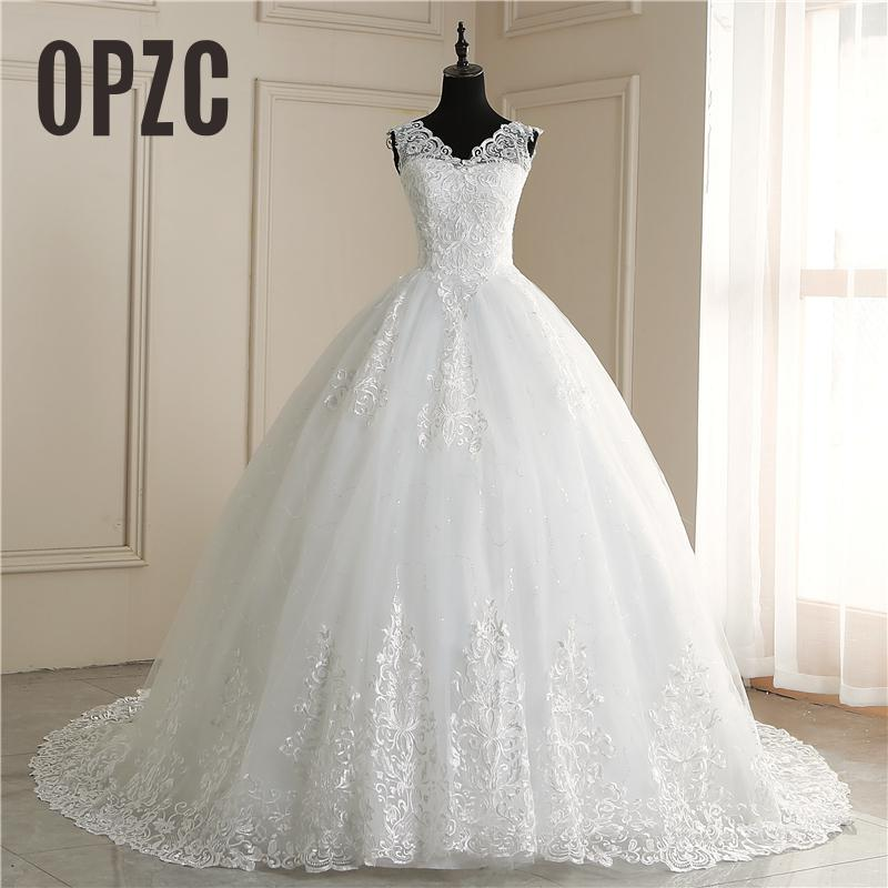 Fashion Africa Style Wedding Dress Boat Neck  Long Train Luxury Lace Embroidery - onlinedressstore