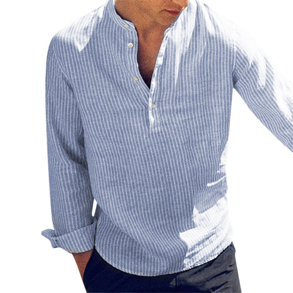 New Fashion Spring Summer Casual Men's Shirt Cotton Long Sleeve Striped Slim Fit Stand Collar Shirts - onlinedressstore