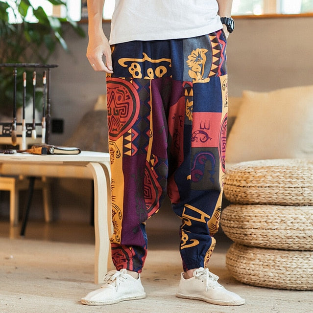 Autumn Men Cotton Pockets Harem Pants Hip Hop Joggers Gypsy Hippie Drop Crotch Mens Pants - onlinedressstore
