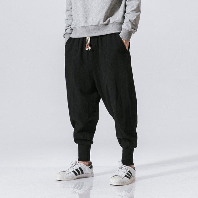 Sincism Store Men Harem Pants Japanese Casual Cotton Linen Trouser Man Jogger Pants Chinese Baggy Pants - onlinedressstore