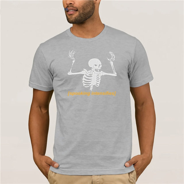 Trendy Creative Graphic T-shirt Top Spooking Intensifies Spooky Scary Skeleton Summer 100% Cotton Men's Sportswear T-shirts - onlinedressstore
