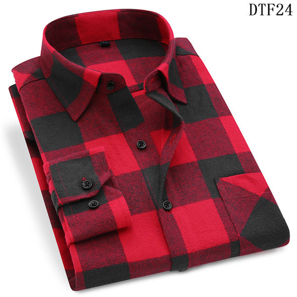 Men Flannel Plaid Shirt 100% Cotton 2019 Spring Autumn Casual Long Sleeve Shirt Soft Comfort Slim Fit Styles Brand Man Plus Size - onlinedressstore