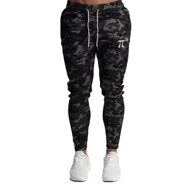 Men's Zipper Pockets Camouflage Joggers Sweatpants for Casual Gym Workout Slim Sport Drawstring Long Pants - onlinedressstore