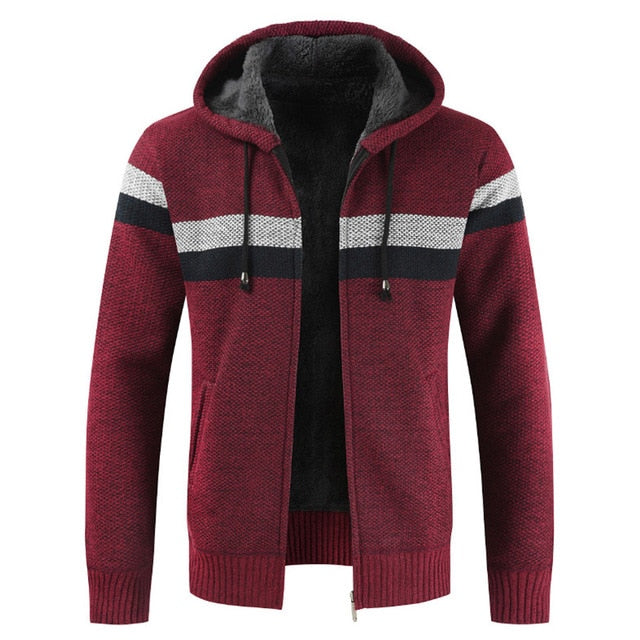 Sweater Coat Men 2020 Winter Thick Warm Hooded Cardigan Jumpers Men Striped Wool Liner Zipper Fleece Coats Men - onlinedressstore