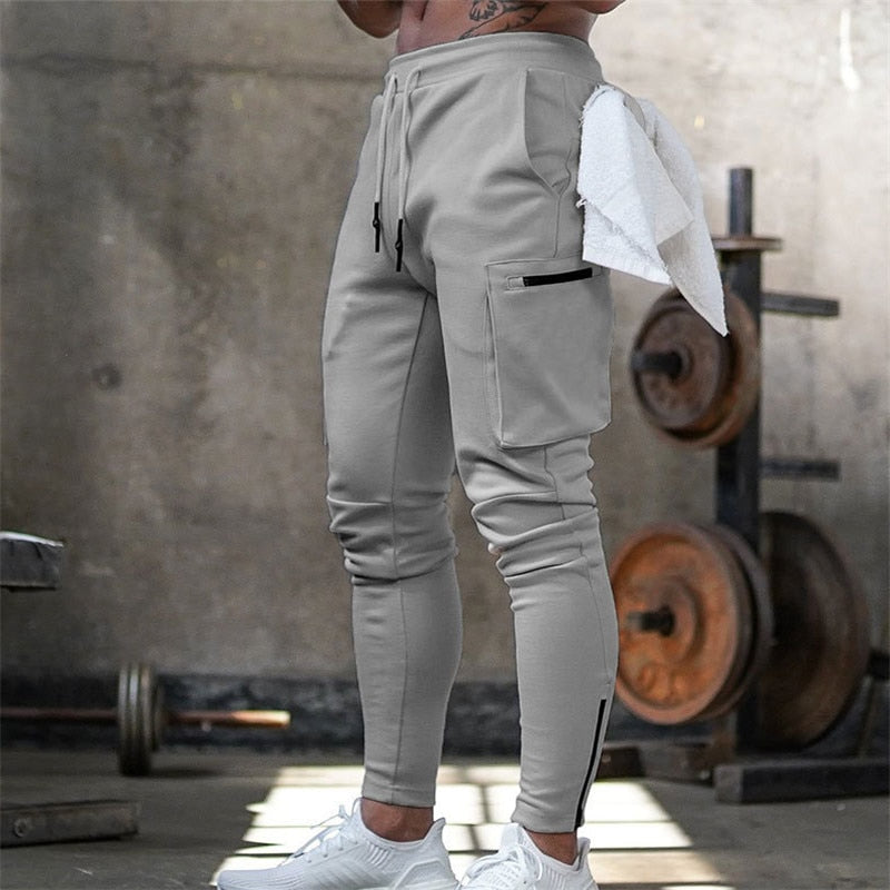 Mens Jogger Pnats Sweatpants Man Gyms Workout Fitness Cotton Trousers Male Casual Fashion Skinny Track Pants Zipper design Pants - onlinedressstore
