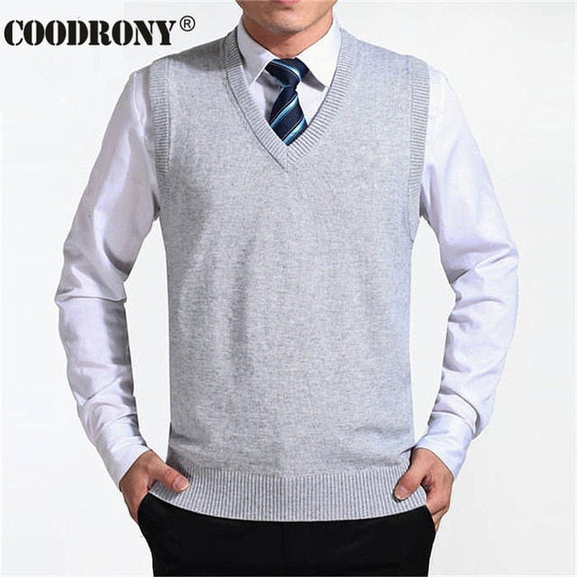 New Arrival Solid Color Sweater Vest Men Cashmere Sweaters Wool Pullover Men Brand V-Neck Sleeveless Jersey Hombre - onlinedressstore