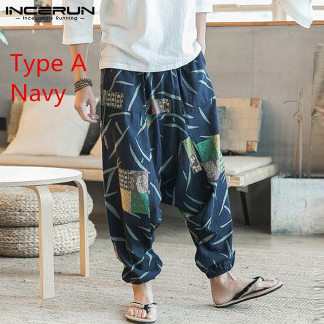 Baggy Cotton Linen Harem Pants Men Hip-hop Women Plus Size Wide Leg Trousers Casual Vintage Long Pants Pantalones Hombre 2020 - onlinedressstore