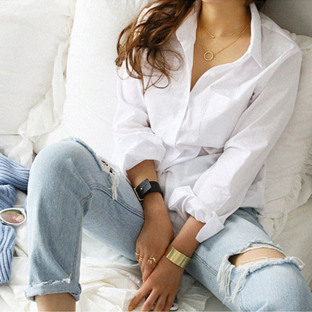 One Pocket Women White Shirt Female Blouse Tops Long Sleeve Casual Turn-down Collar - onlinedressstore