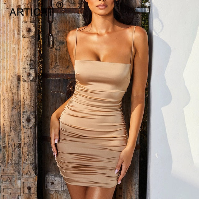 Spaghetti Strap Mini Satin Dress Women Sexy Backless Cross Bandage Bodycon Party Dress Pleated Stretch Short Club Dress - onlinedressstore