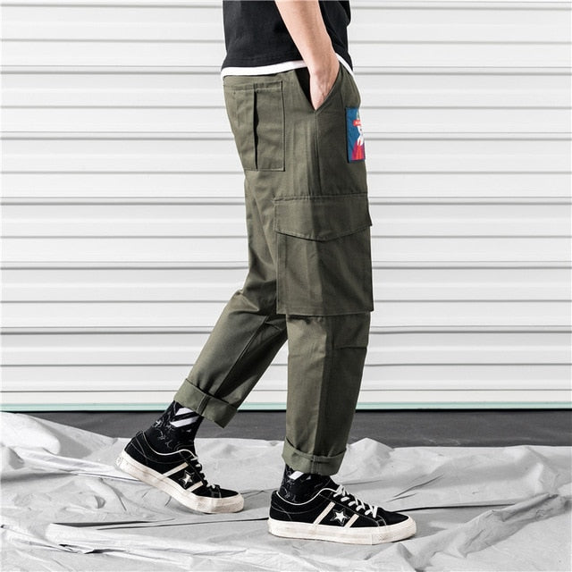Cargo Pants Joggers Men Black Harem Pants Multi-pocket Ribbons Man Sweatpants Streetwear Casual Pants Elastic waist Male Trouser - onlinedressstore