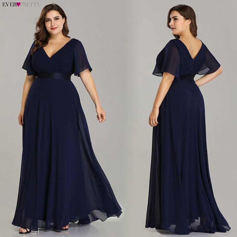 Plus Size Evening Dresses Ever Pretty Elegant V-Neck Ruffles Chiffon Formal Evening Gown Party Dress Robe - onlinedressstore