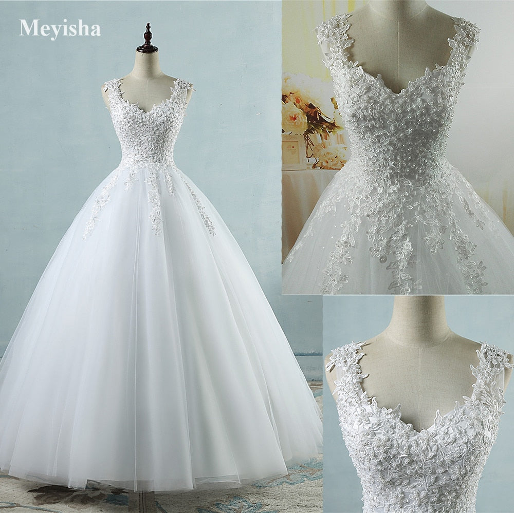 Ball Gowns Spaghetti Straps White Ivory Tulle Wedding Dresses 2019 with Pearls Bridal Dress Marriage Customer Made Size - onlinedressstore